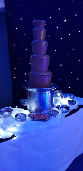 chocolate fountain at a corporate event at the devonshire house hotel