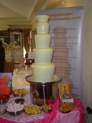 chocolate fountain at a wedding fayre in thornton hall hotel