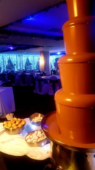 chocolate fountain at a wedding in formby hall golf resort
