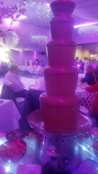 chocolate fountain at a wedding in the devonshire house hotel liverpool