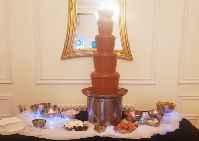 chocolate fountain at a wedding in the west tower in aughton lancashire