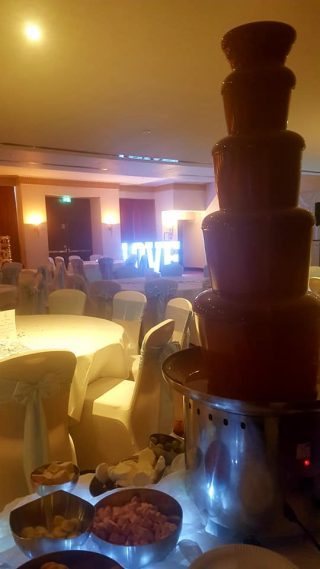 chocolate fountain at a wedding in thornton hall in thornton hough on the wirral