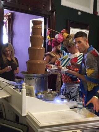 chocolate fountain at christmas pantomime liverpool epstein theatre