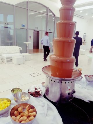 chocolate fountain at the venue in liver buildings liverpool