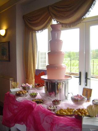 white chocolate fountain at a wedding in formby hall golf resort