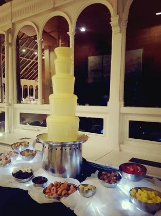 white chocolate fountain at a wedding in the isla gladstone liverpool